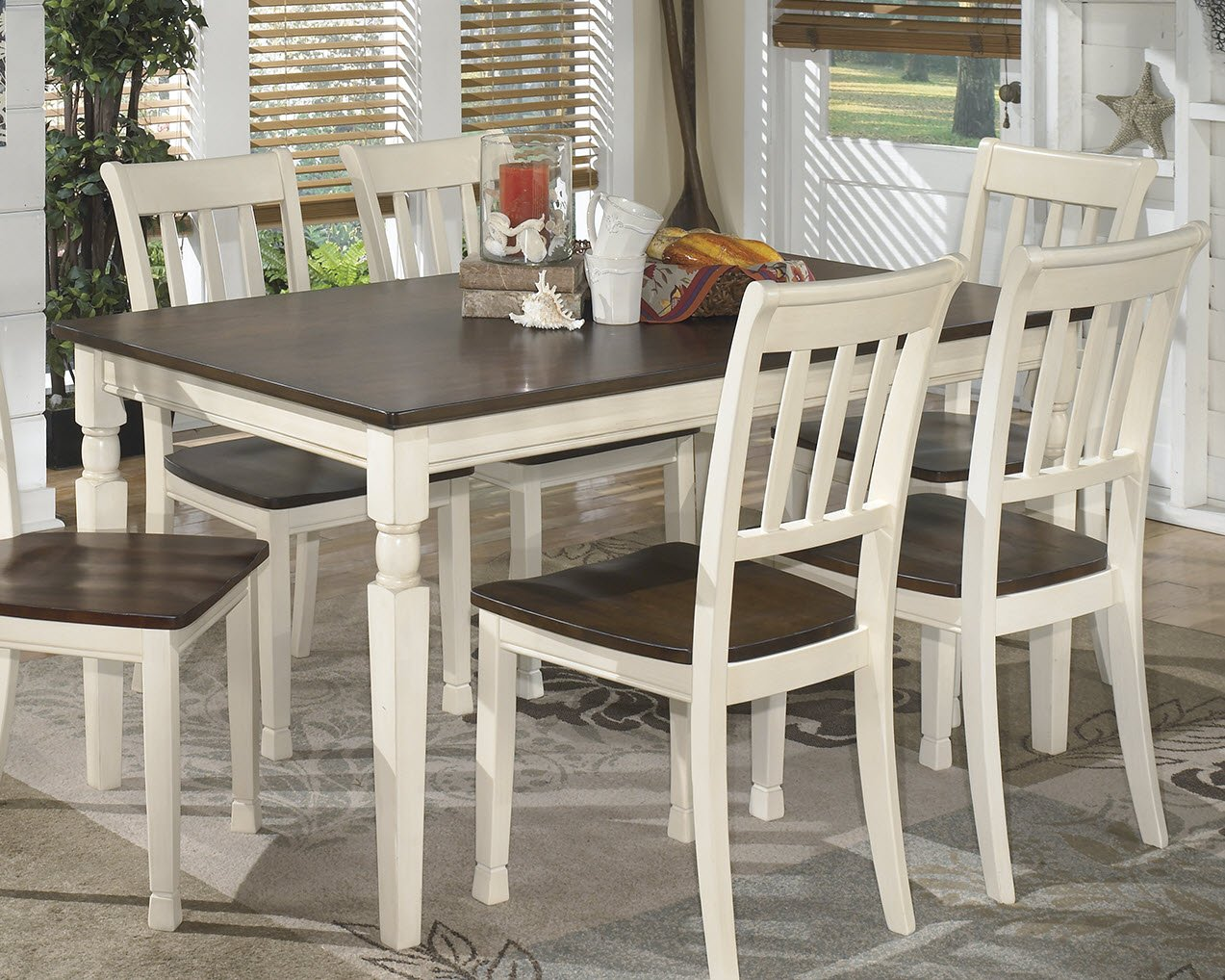 amazoncom ashley furniture signature design whitesburg dining room table rectangular vintage casual browncottage white tables - Farmhouse Kitchen Table