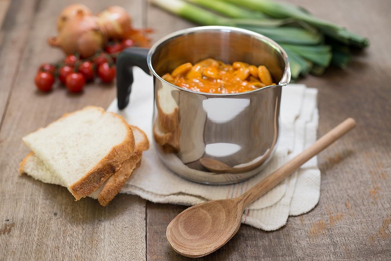Zinel - Cazo para Salsas/hervir/Calentar Leche, con Mango de baquelita, de Acero Inoxidable, Color Plateado, 15 cm.: Amazon.es: Hogar