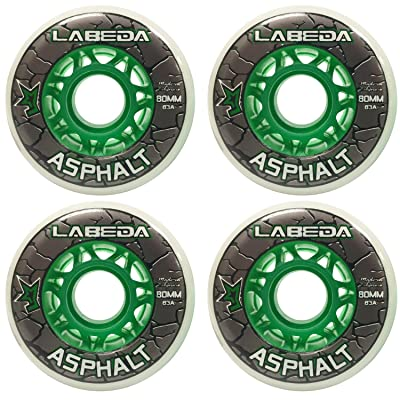 Labeda Wheels Inline Roller Hockey Gripper Asphalt Outdoor White 80mm 83A x4 : Sports & Outdoors