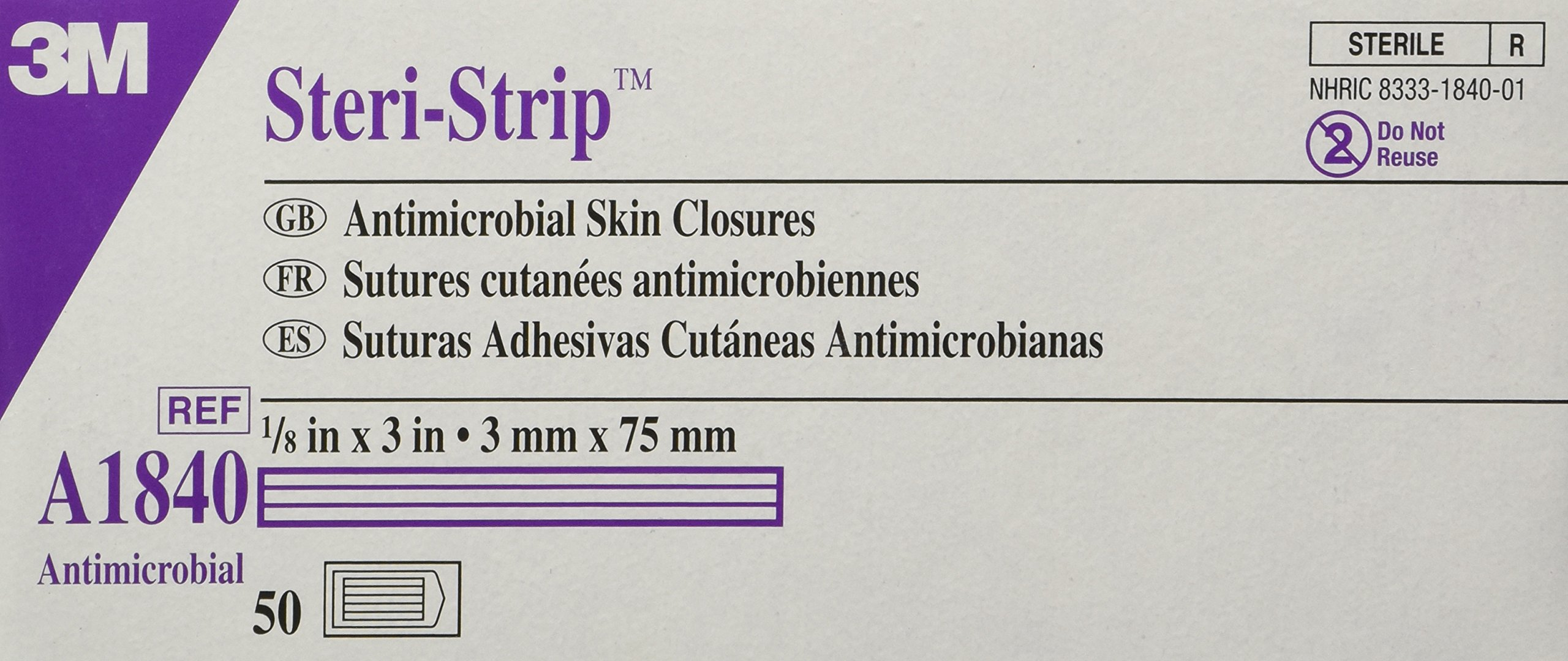 3M A1840 Steri-Strip Antimicrobial Skin Closures by 3M