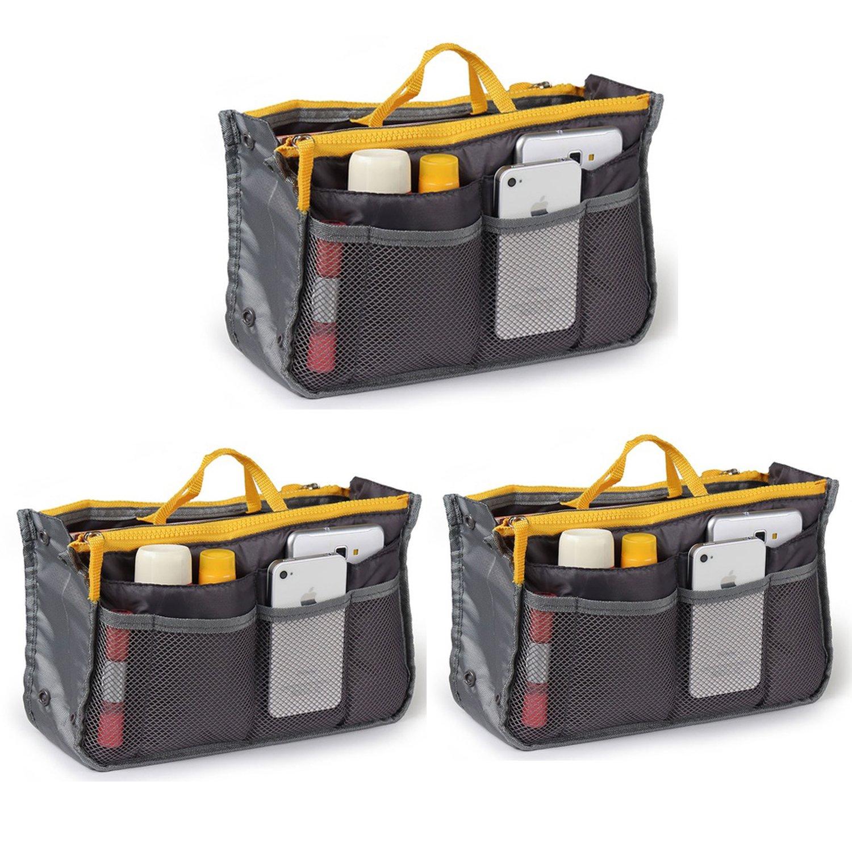 Go Beyond (TM) Travel Insert Organizer Compartment Bag Handbag Purse Large Liner Insert-Organizer Tote Bag (Bundle of 3 Gray)