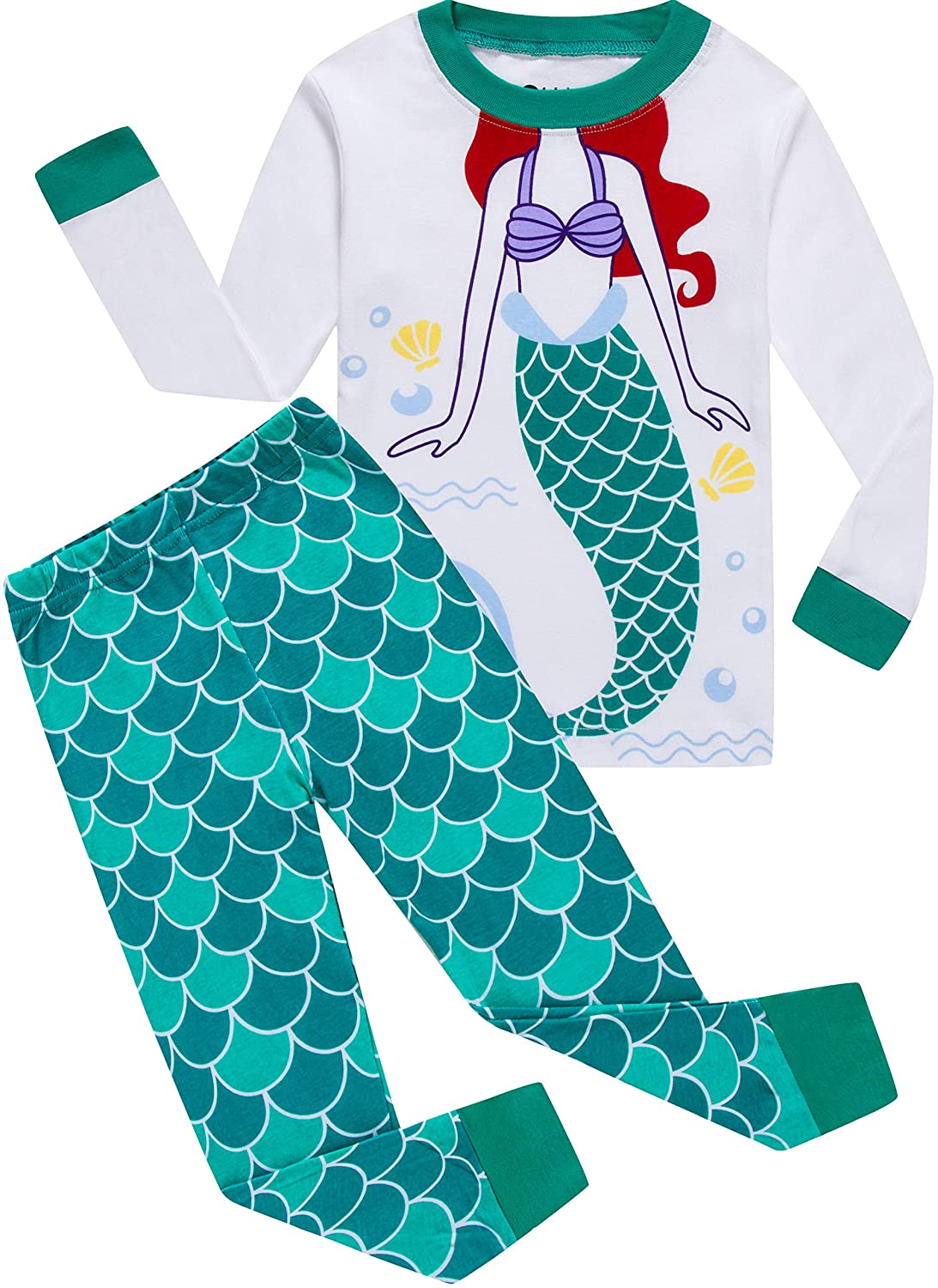 Girls Christmas Pajamas for Kids Cartoon Sleepwear Children Mermaid PJs Pants Set