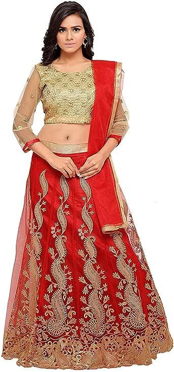 Indian Clothing Store Clickedia Women & Girls Heavy Semi-Stitched Bhagalpuri Silk Lehenga Choli Blouse pc Red Gold