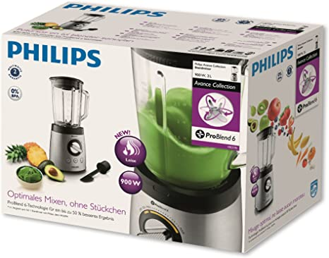 Philips HR2195/08 Avance Collection - Batidora 900W, jarra de ...