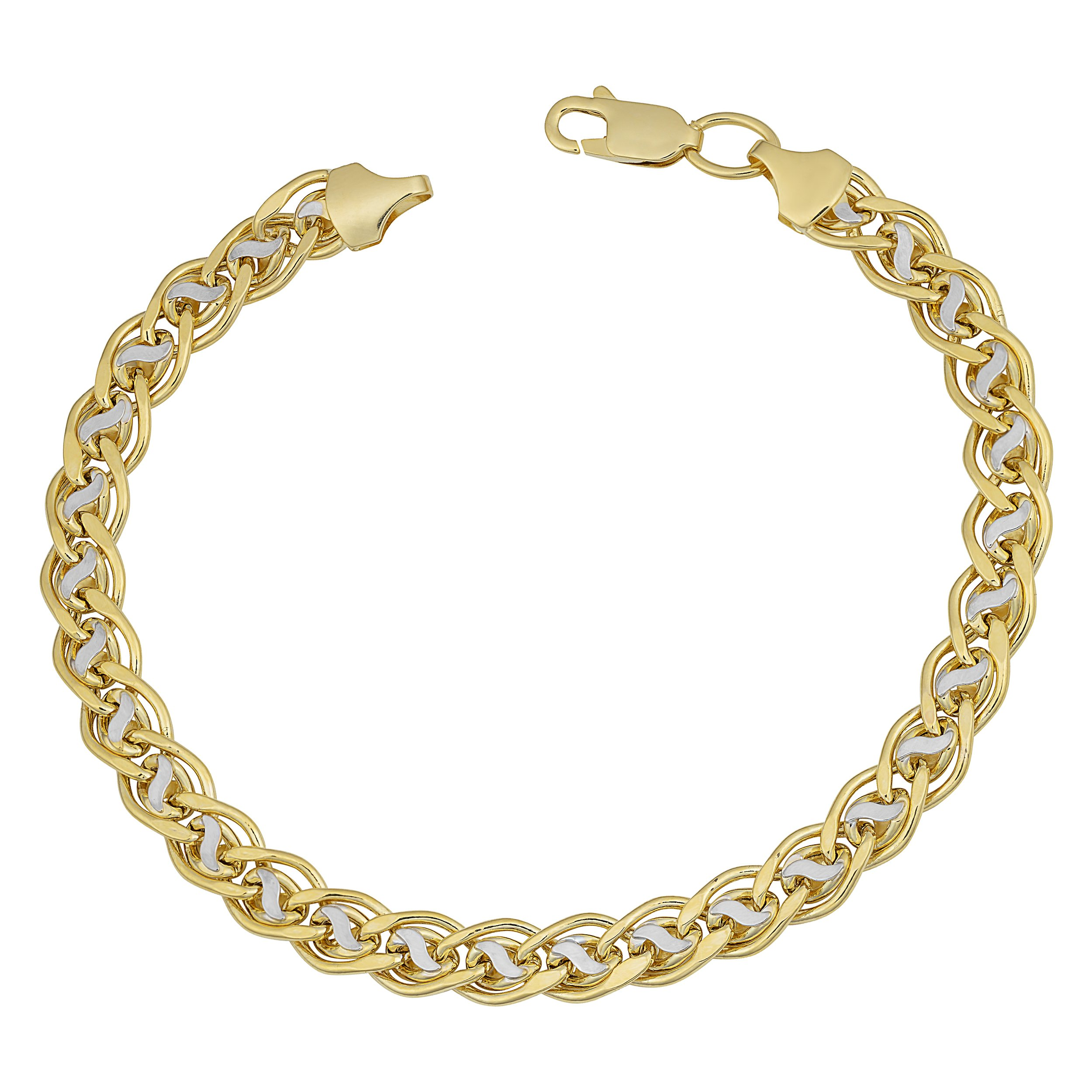 10k Two-Tone Gold 6.3mm Double Link Bracelet (8 inch)