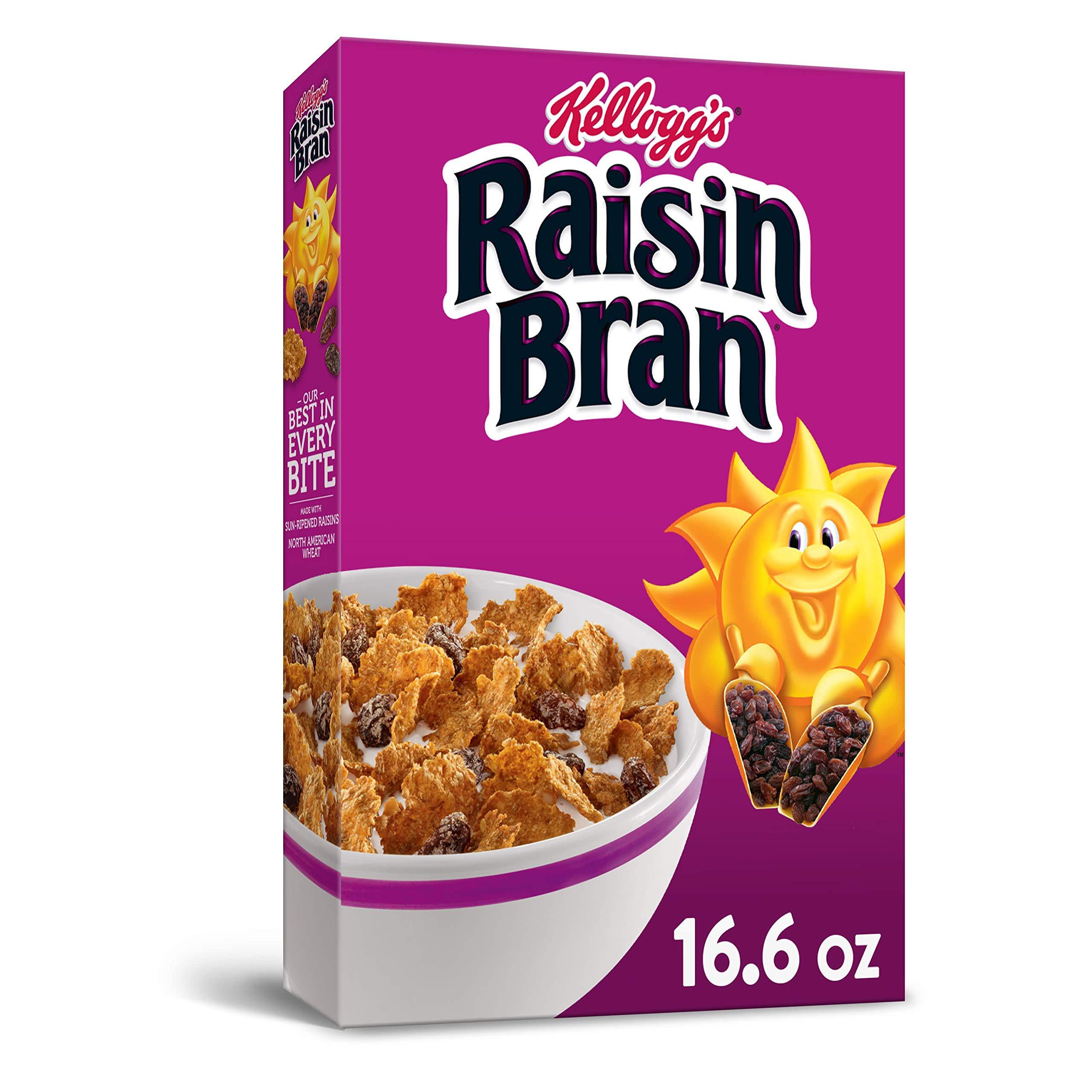 Kellogg's Raisin Bran, Breakfast Cereal, Original, Excellent Source of Fiber, 16.6oz Box