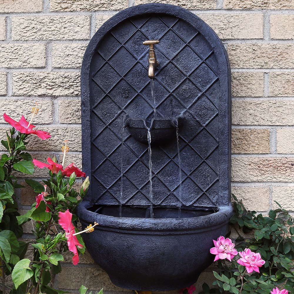 Sunnydaze messina outdoor wall mounted water fountain with - Wall mounted water feature ...