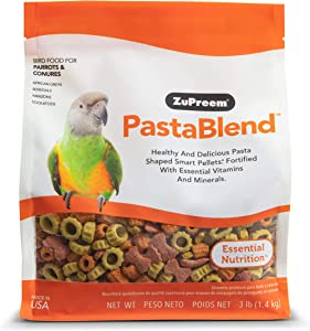 ZuPreem PastaBlend Smart Pellets Bird Food for Parrots and Conures, 3 lb Bag - Made in The USA, Daily Nutrition, Essential Vitamins, Minerals for African Greys, Senegals, Amazons, Eclectus, Cockatoos