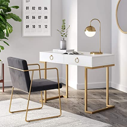Nathan James 53301 Leighton Two Drawer Home Office Computer Desk Vanity Table, Wood And Metal, White/Gold by Nathan James