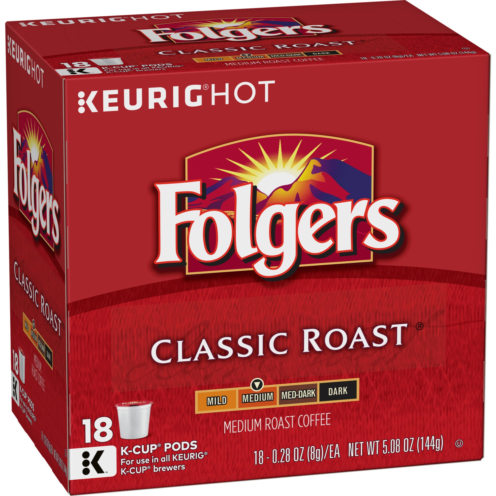 Folgers Classic Roast, Medium Roast Coffee, K Cup Pods for Keurig K Cup Brewers, 72 Count