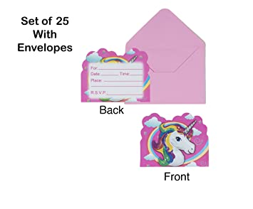 Pink Unicorn Party Invitation Card With Envelopes Set Of 25 For Boy Girl Kid Happy Birthday