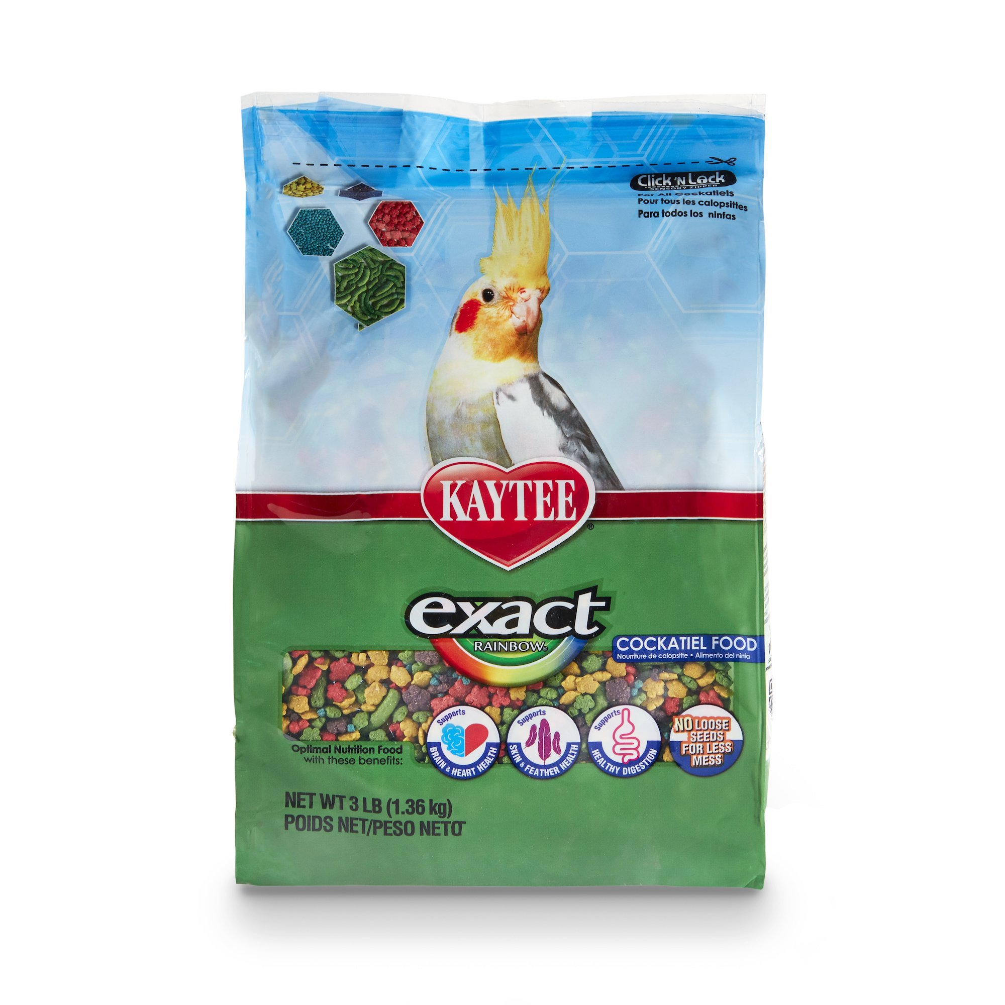 Kaytee Exact Rainbow Premium Daily Nutrition for Cockatiels, 3-Pound Bag