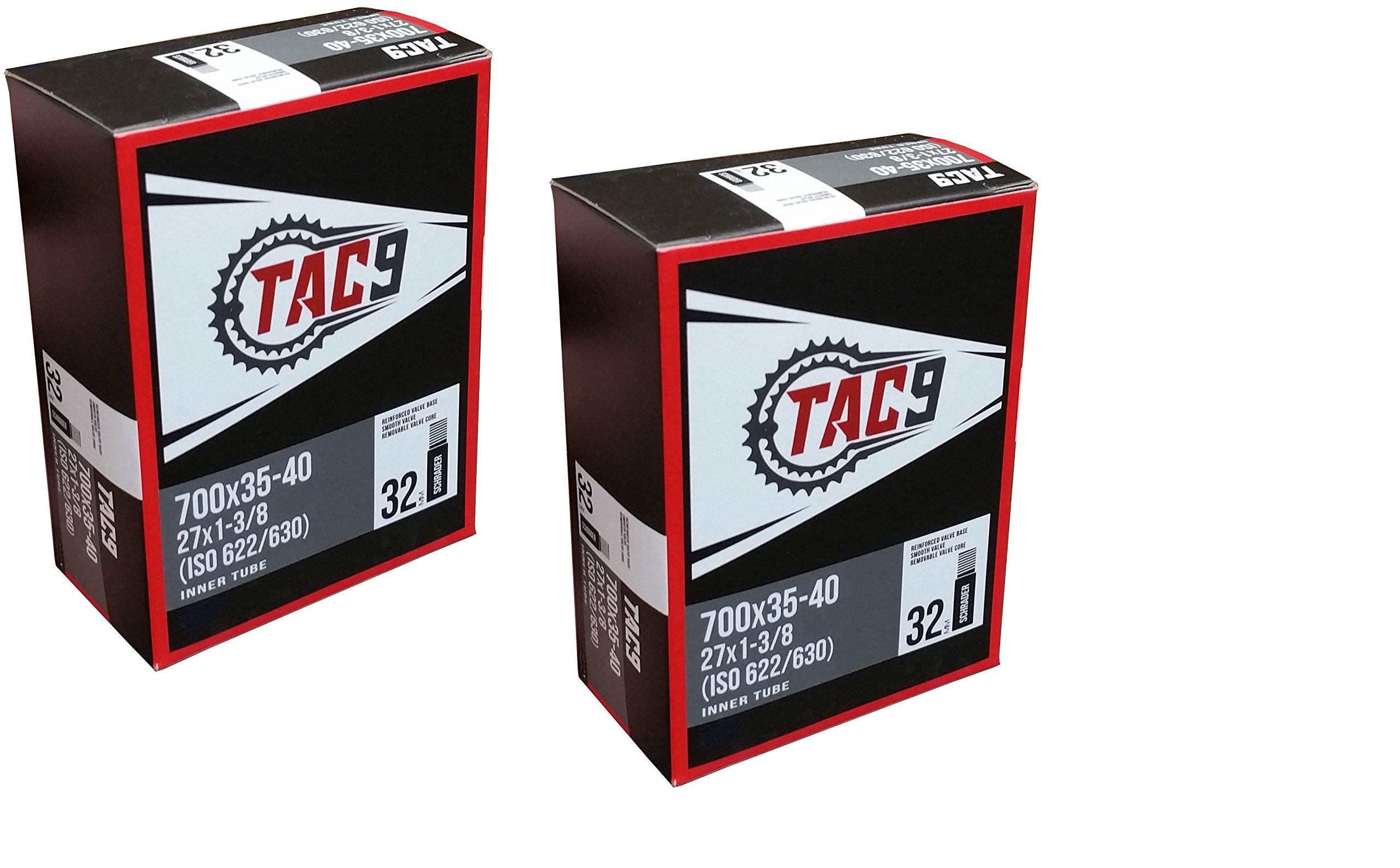 TAC 9 Tubes, 700 x 35 40 (27 x 1 3/8) Regular Schrader Valve, 32mm (ISO 622/630)