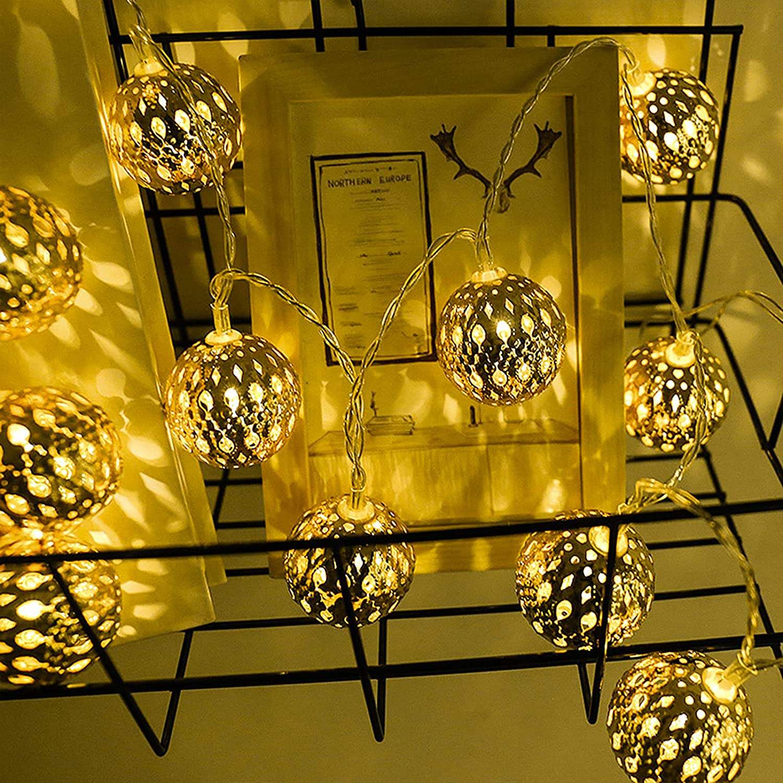 Moroccan String Lights, 40 LED Metal Globe Fairy String Lights,Sliver Moroccan Orb Hanging Lights Battery Operated Fairy Lights for Indoor Outdoor Wedding,Bedroom,Window,Garden,Patio Decorations