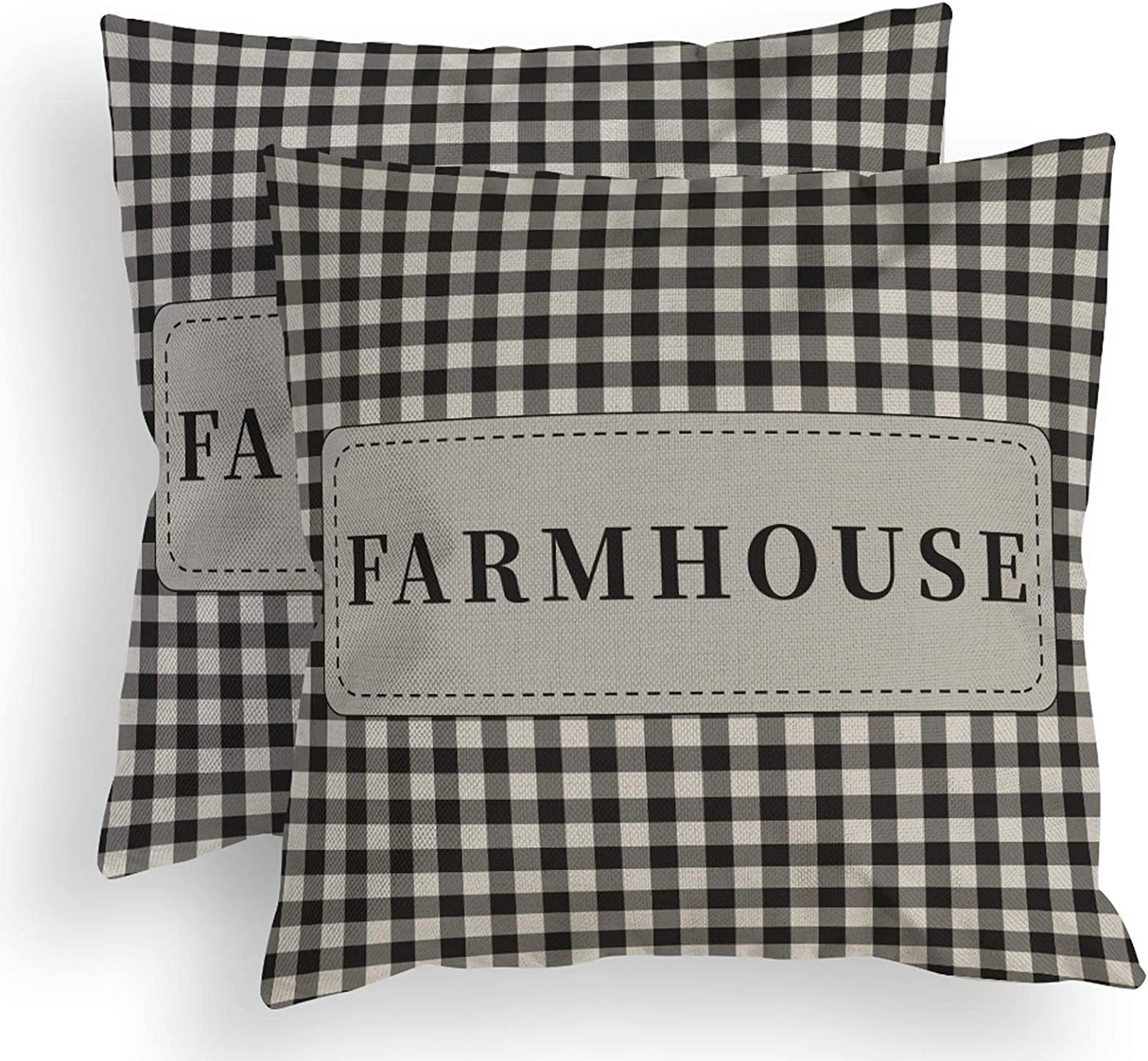 ROMAHOME Throw Pillow Covers Set of 2 Farmhouse Americana Primitive Classic Country Geometric Black and Grey White Checked Plaids Patriotic Decorative Pillow Cover for Home Decor Square 18x18 Inches
