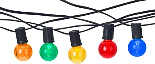 Holiday Lighting Outlet Multicolored LED Indoor Outdoor 100 Patio Commercial Grade Bistro Light String, Includes 100 Energy Efficient LED Globe G40 0.58 Watt Bulbs – E17, C9 Black