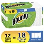 Bounty Select-A-Size Paper Towels, White, 12 Giant Rolls (Equal to 18 Regular Rolls)