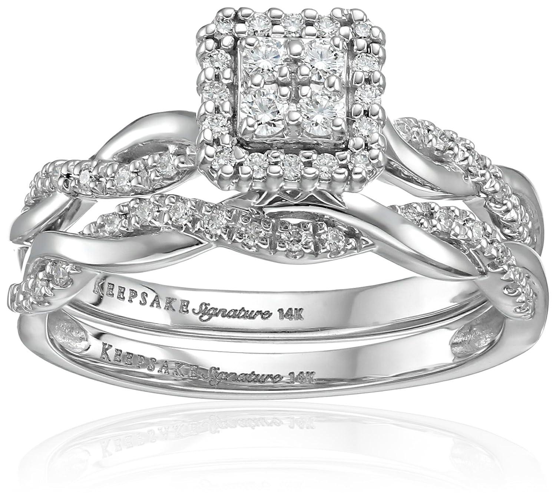 Keepsake Signature 14k White Gold Diamond Twist Engagement Ring 1