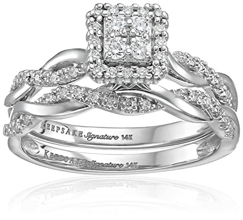 Keepsake Signature 14k White Gold Diamond Twist Engagement Ring (1/3cttw, H-I Color, I1 Clarity)