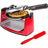 Rotating Belgian Waffle Maker - Classic Red & Stainless Steel - Adjustable Temperature Control & 180 Degree Flip Rotation – Includes User Guide, Gourmet Waffle Recipes, and FREE Bonus