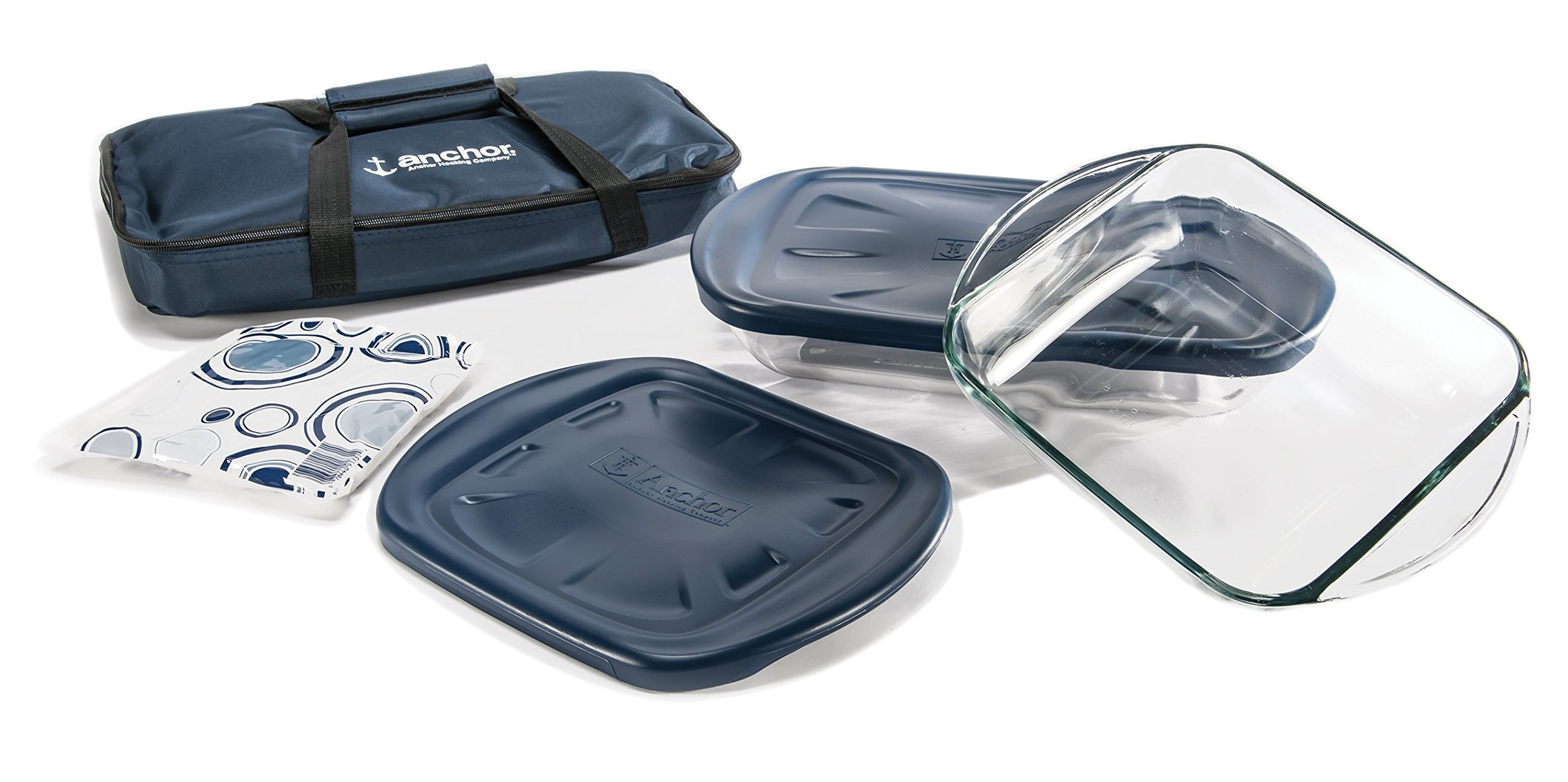 Anchor Hocking 6-Piece Essentials Bake-N-Take Set with Blue Plastic Lid and Blue Tote by Anchor Hocking (Image #4)