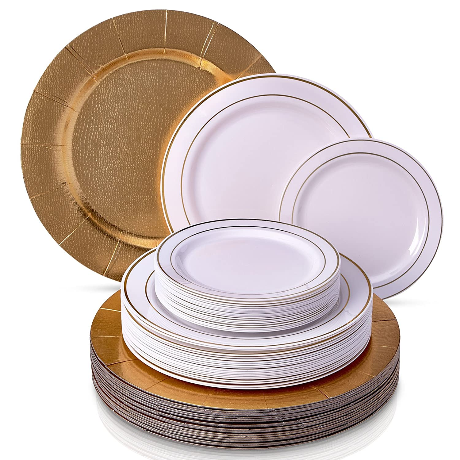 CLASSIC GOLDEN GLARE COLLECTION DINNERWARE SET|240 PC SET|80 Charger Plates|80 Dinner Plates|80 Salad Plates|Durable Plastic Dishes|Elegant Fine China Look|for Upscale Wedding and Dining(White/Gold)