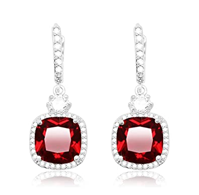 cd31712a6 KristLand - Elegant 18k White Gold Plated Spakle Cubic Zirconia Drop  Earrings Silver Tone Lever-Back Square Round-Cut Ruby Color: Amazon.co.uk:  Jewellery