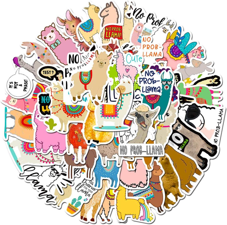 100pcs Funny Llama Llama Stickers Vinyl Waterproof Alpaca Skate Stickers for Skateboard Luggage Aesthetic Laptop Stickers for Teens Kids Children Adults
