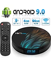 Android 9.0 TV Box HK1 Max's with Dual-WiFi 2.4GHz/5GHz 【4GB RAM 64GB ROM】 RK3318 Quad-core Support 4K Full HD BT 4.1 USB 3.0 H.265 Digital LED Display time Smart TV Box