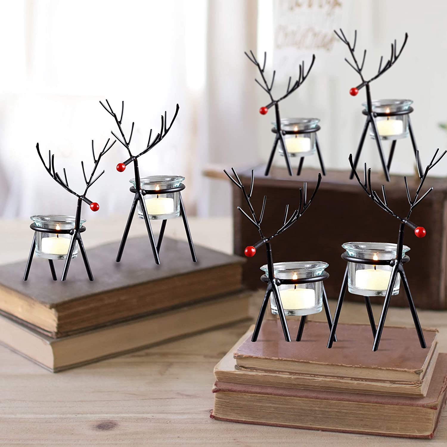 Buy Tied Ribbons Reindeer Tealight Candle Holders Home Decoration Items For Living Room Bedroom Dining Room Tealight Candle Holders For Home Decor Pack Of 6 Online At Low Prices In India