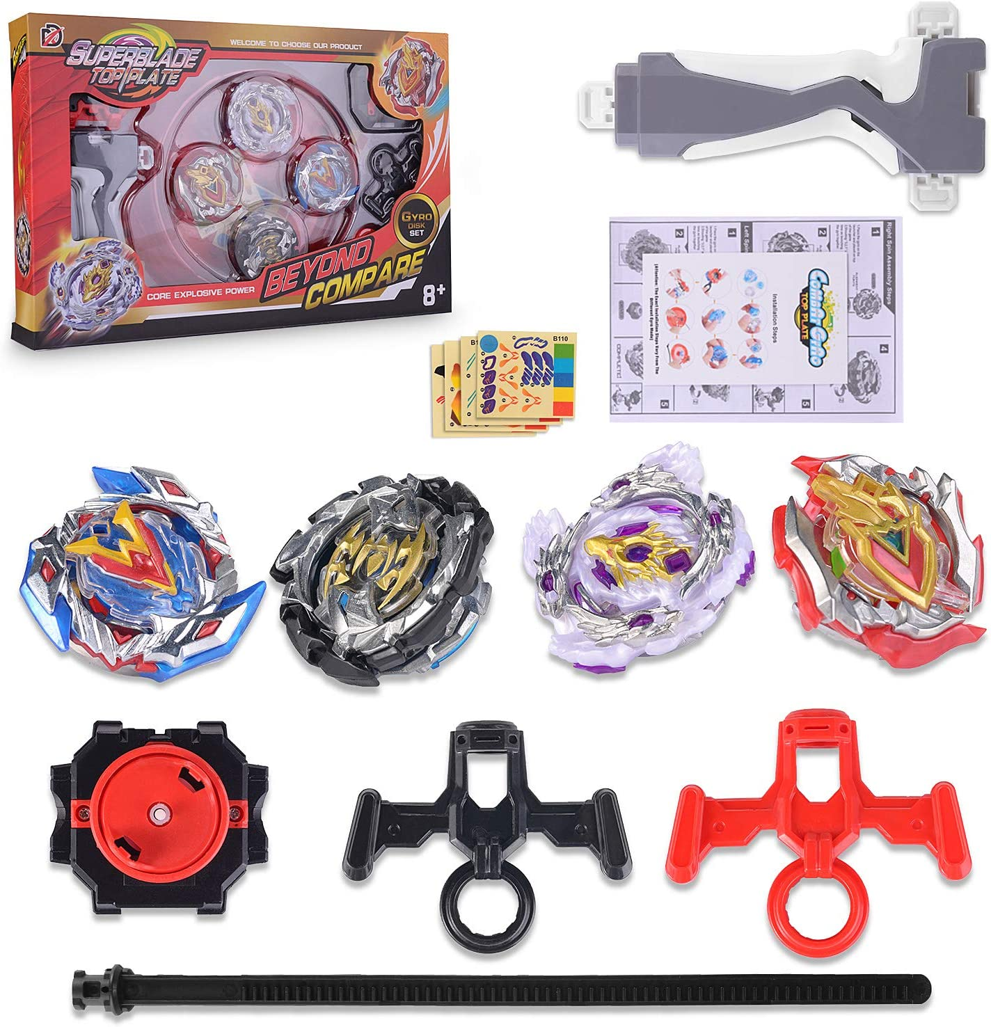 Surhomic Spinning Top Gyro 4 Pcs Set avec Launcher Beyblade M/étal Combat Jouets Starter Pack Lutte Ma/îtres Fusion pour Enfants Adulte 4 Toupies /& 2 Lanceurs
