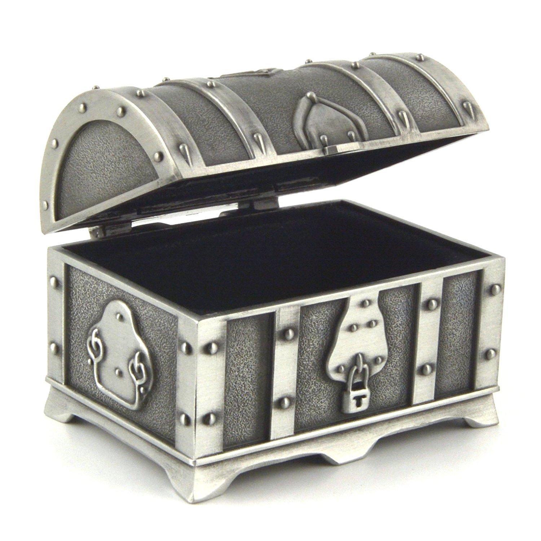 HZMAN Fashion Small Rectangle Antique Silver Metal Treasure Chest Trinket Jewelry Box Gift Box Ring Box 4313280100