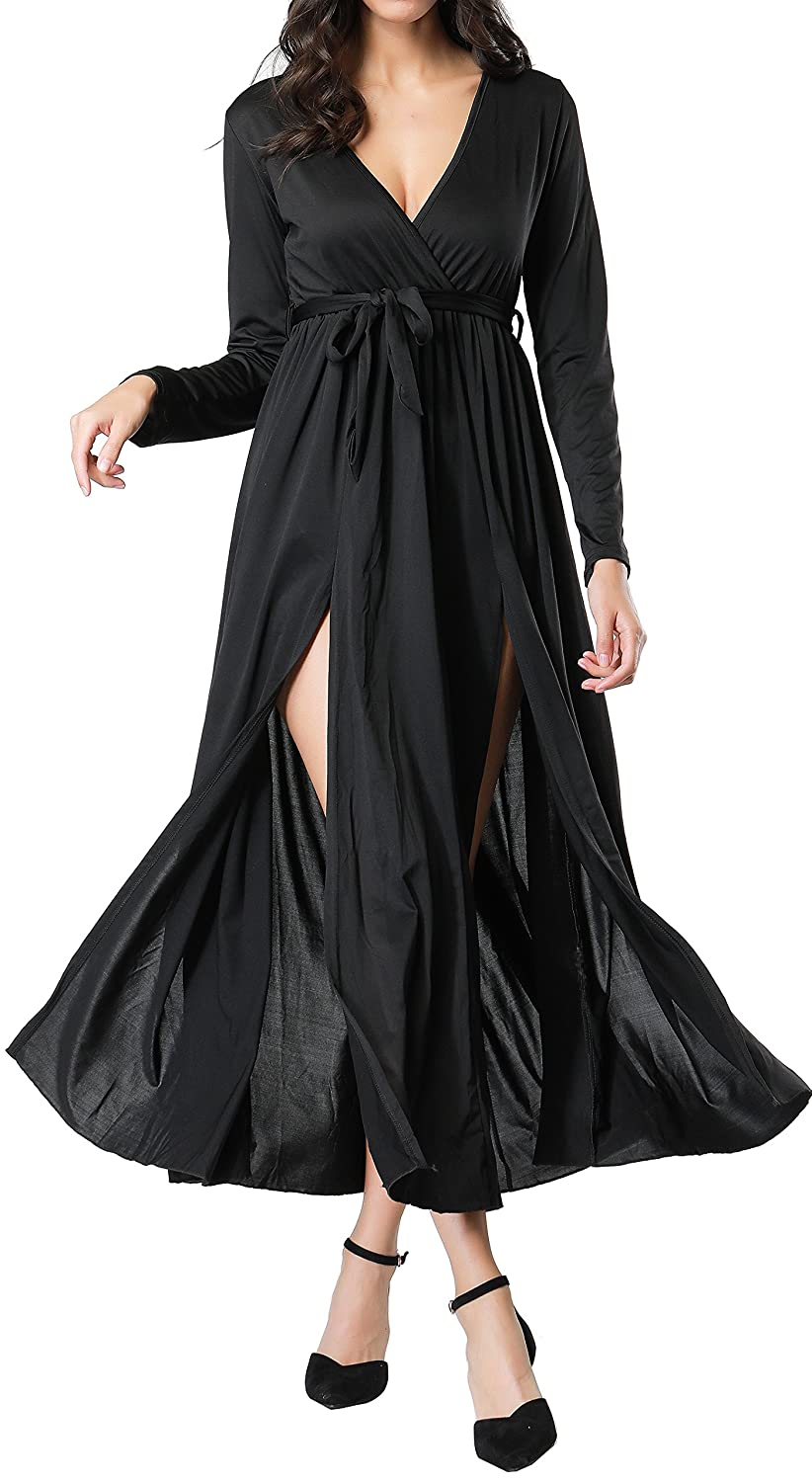 1a1f7f5586e5 VEBE Womens Split Maxi Dress, Wrap Maxi Dress with Belt, Deep V Neck High  Waist Long Sleeve Black Casual Dress at Amazon Women's Clothing store: