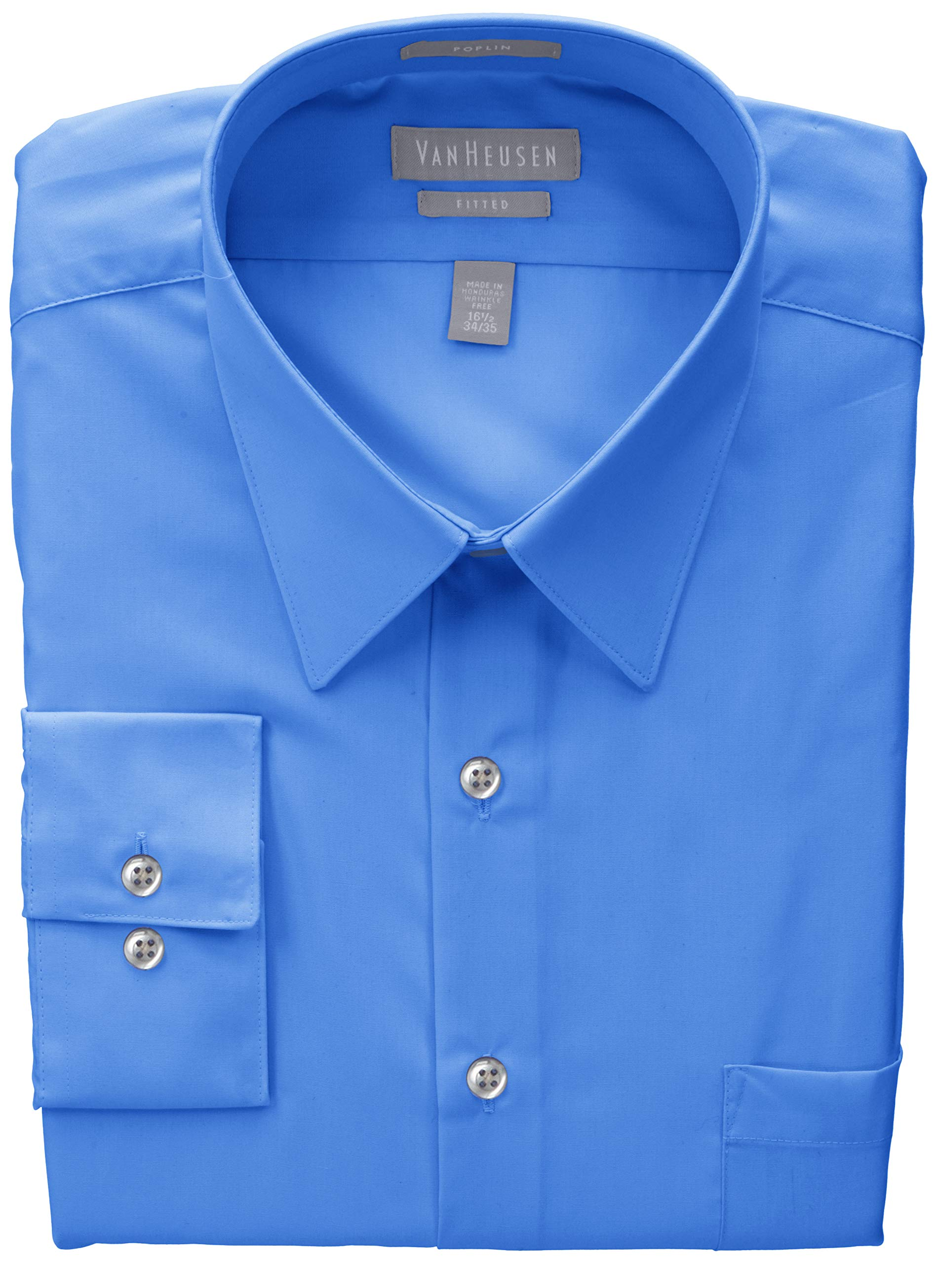 Van Heusen Mens Poplin Fitted Solid Point Collar Dress Shirt