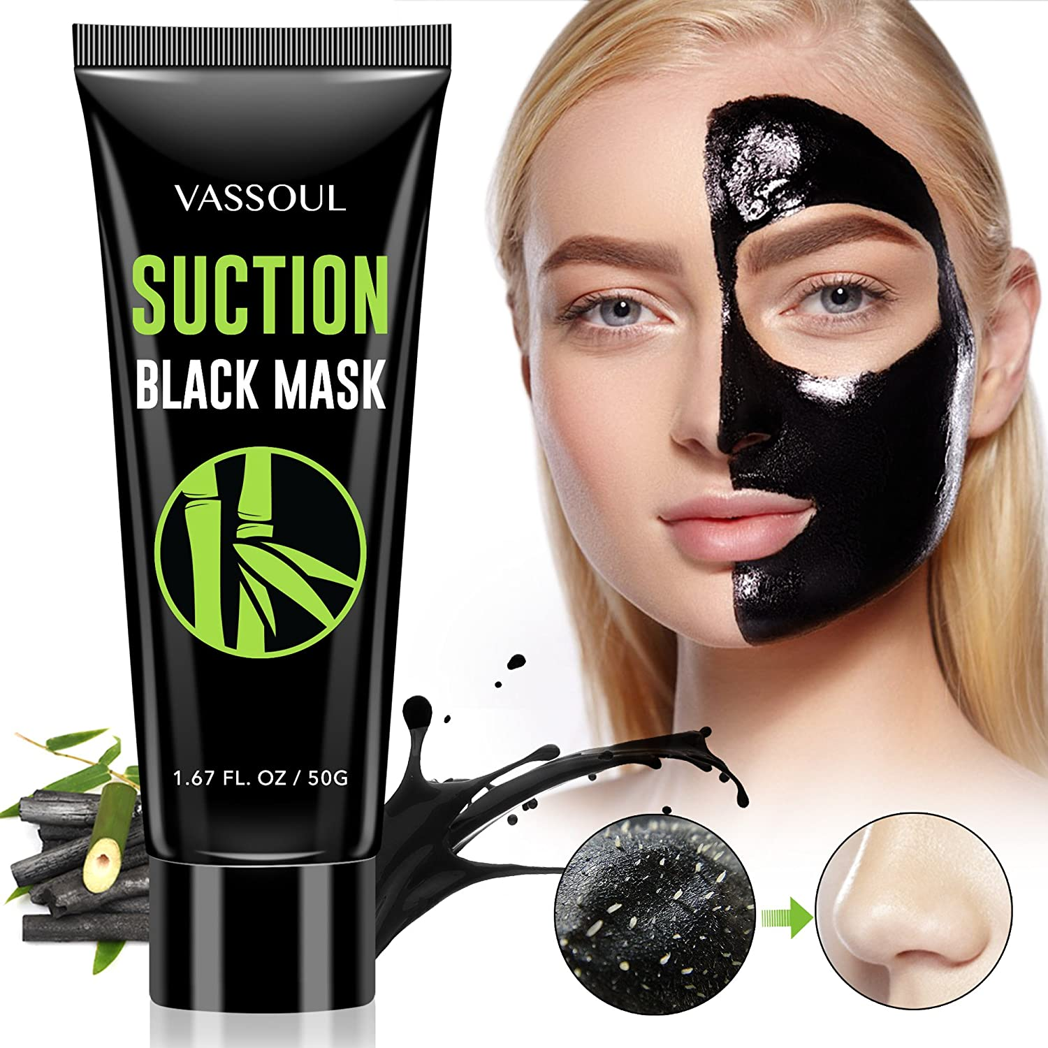 Vassoul Blackhead Remover Mask, Purifying Peel-off Mask with Activated Charcoal, Deep Pore Cleanse for Acne Anker AK-71AN3654WS-WA