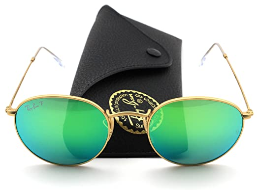 7e50bba531 Image Unavailable. Image not available for. Color  Ray-Ban RB3447 112 P9  Round Matte Gold Frame   Green Flash Polarized Lens