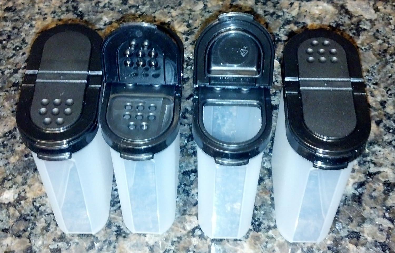Tupperware Large Spice Shaker Set of Four Black Seals COMINHKPR00018