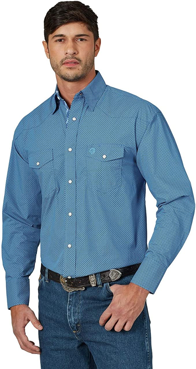 Wrangler Mens Tall George Strait Troubadour Long Sleeve Shirt