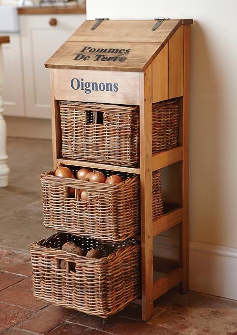 Dibor - Cassettiera da cucina in legno con 3 cassetti in vimini ...