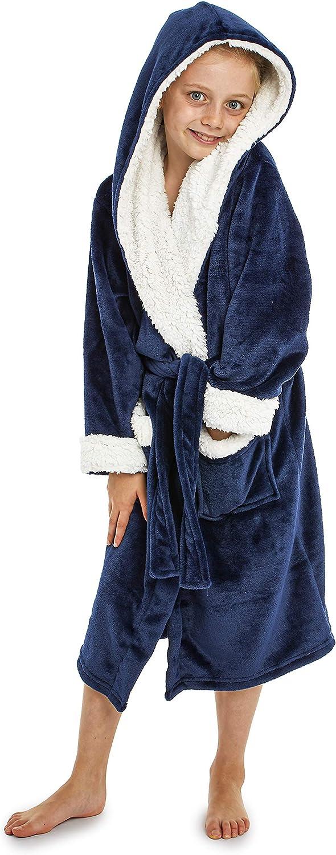 Garçons Enfants Polaire Douce Rétro Game à Capuche Peignoir Robe De Chambre Bleu 5-12 ans