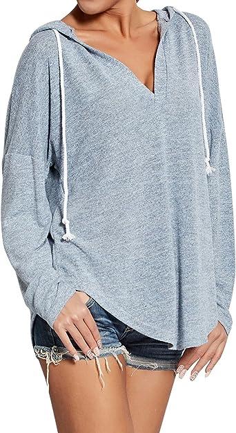 Ezcosplay Women Deep V Neck Solid Pullover Drawstring Loose Sweatshirt Hoodies