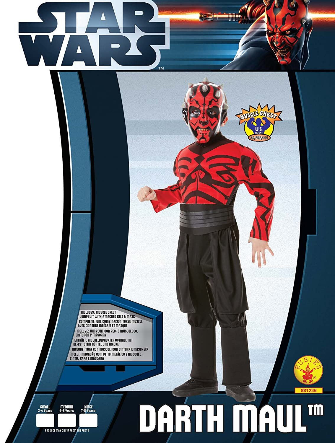 Amazon.com: Deluxe Muscle Chest Darth Maul Child Costume - Medium: Clothing