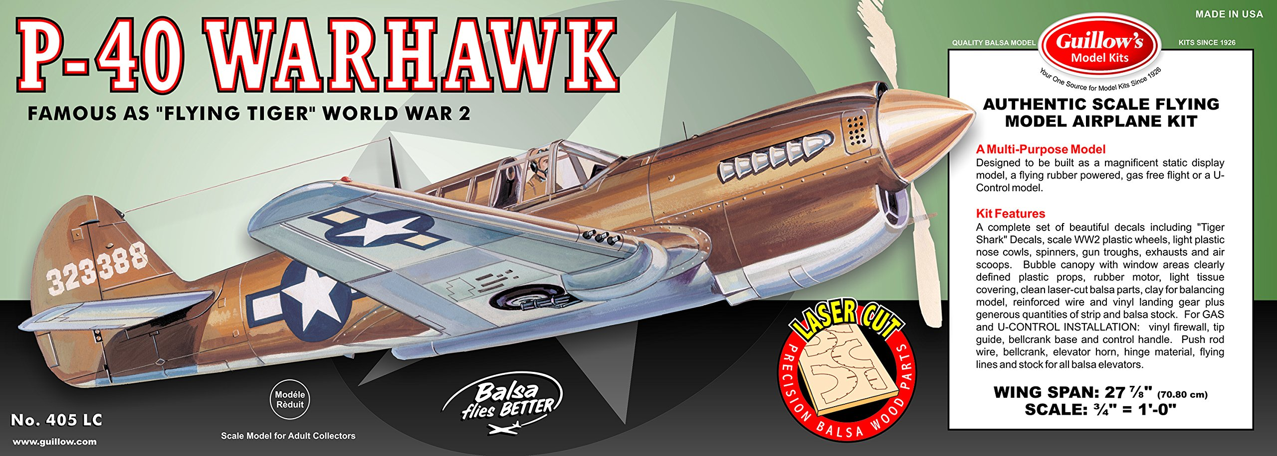 Guillow's P-40 Warhawk Laser Cut Model Kit by Guillow