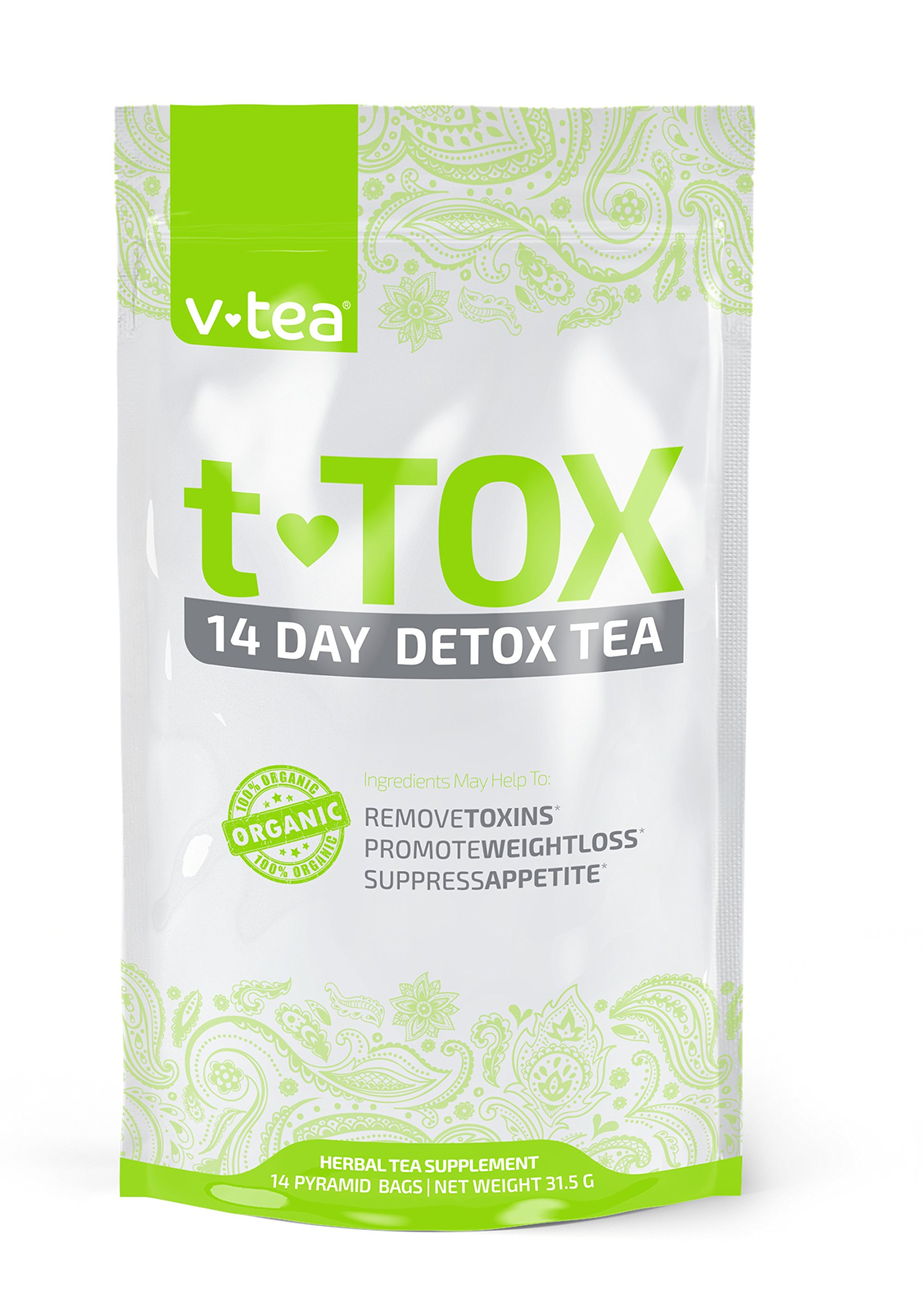 v tea Teatox 14 Day Detox Tea Cleanse, Boost Energy & Reduce Bloating (14 Pyramid Tea Bags)