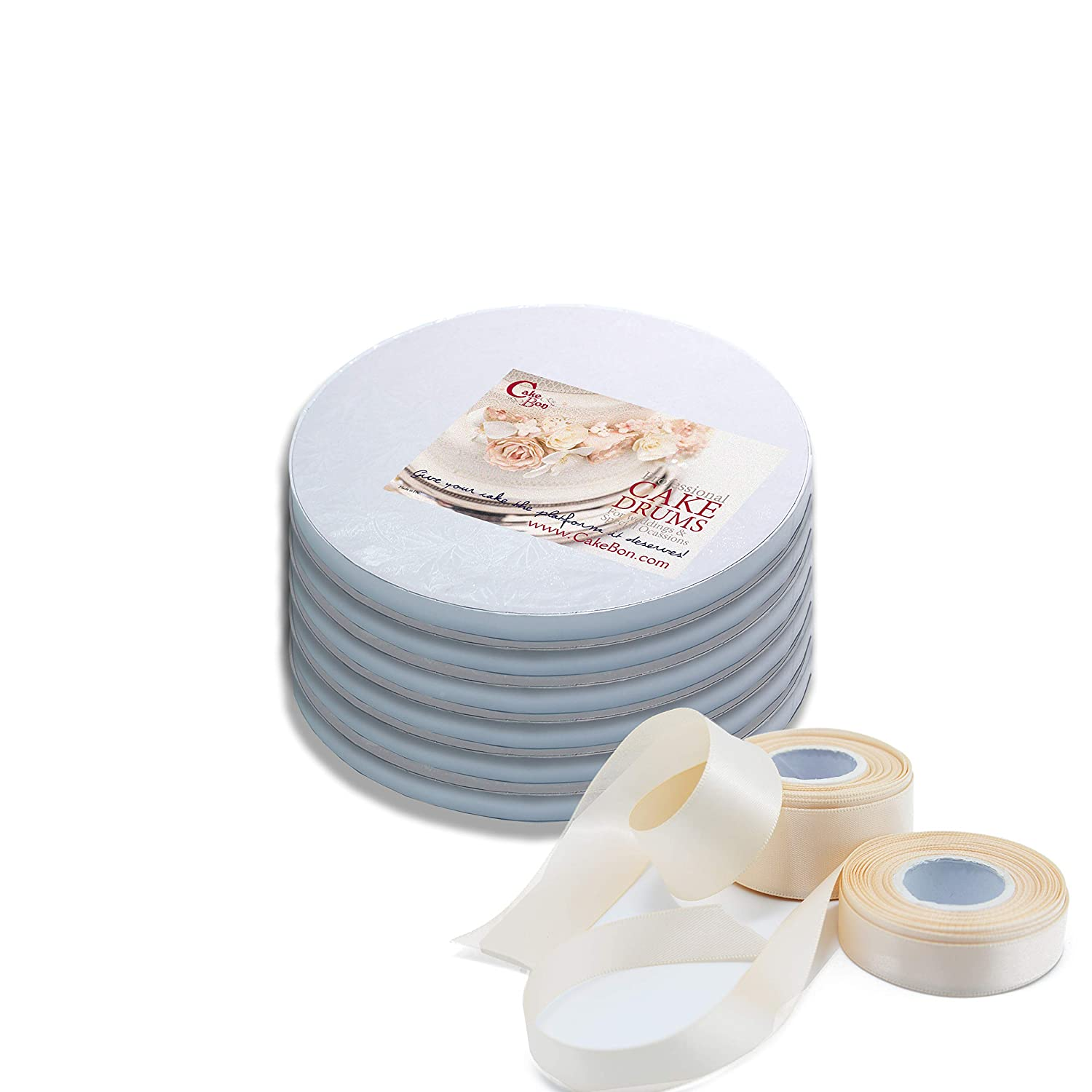 White, 12-Pack Professional Smooth Straight Edges FREE Satin Cake Ribbon Cake Drums Round 8 Inches Sturdy 1//2 Inch Thick