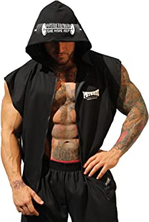 product image for Physique Bodyware Men's Sleeveless V-Tapered Bodybuilder Hoodie. Made in America.