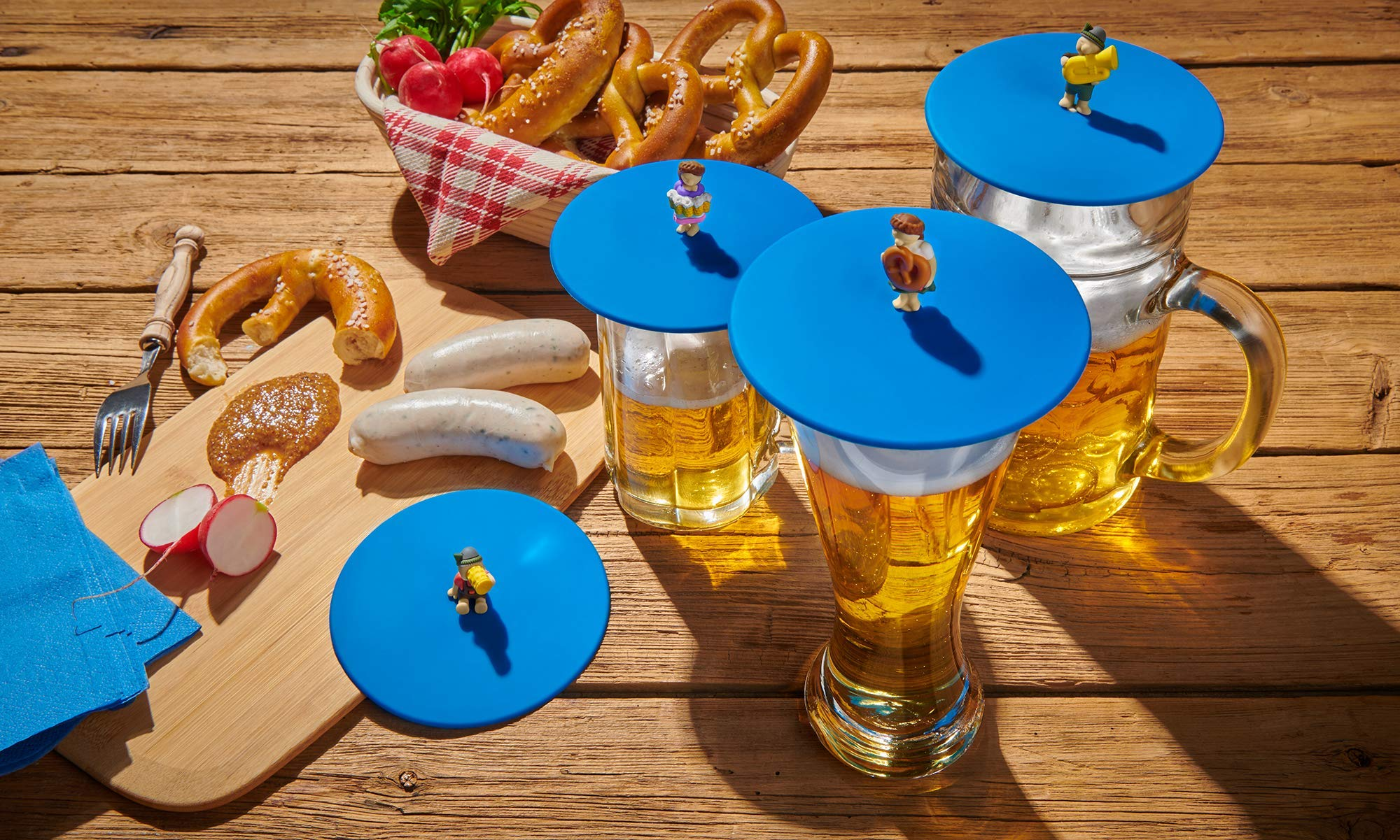 Lurch My Lid Beer Garden 210300 Glass Covers with Funny Figures Set of 4