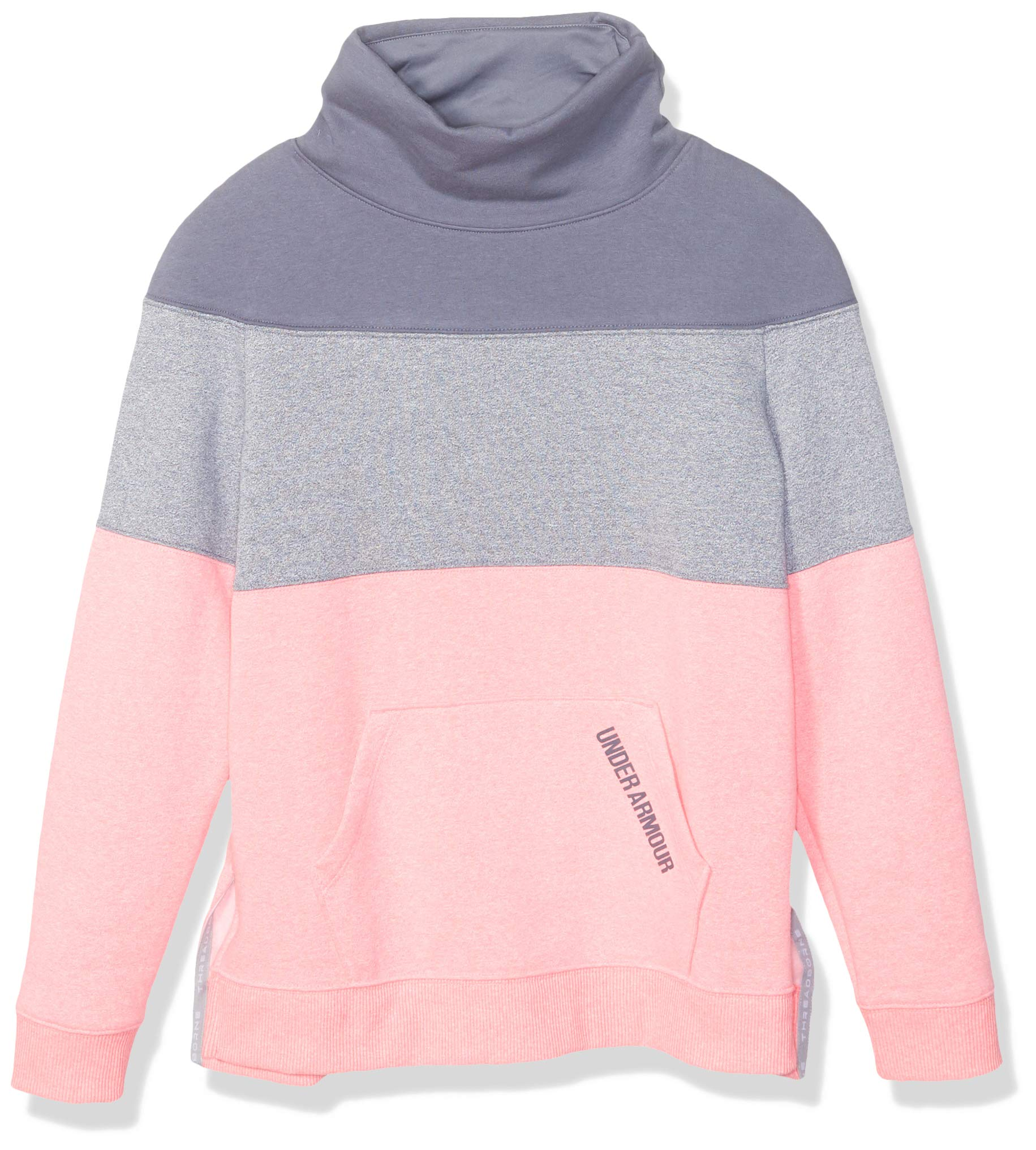 Under Armour Girls' Threadborne Fleece Slouchy Crew,Penta Pink (975)/Apollo Gray, Youth X-Small
