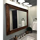 Shiplap Large Wood Framed Mirror Available in 4 Sizes and 20 Colors: Shown in Special Walnut Stain - Large Wall Mirror - Rust