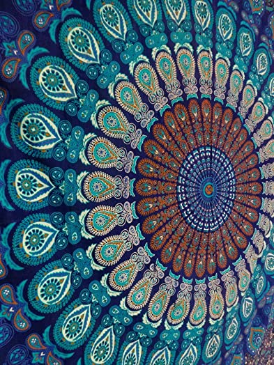 Trade Star Exports Blue Color Theme Queen Size Mandala Wall Tapestries, Psychedelic Indian Tapestry Bedding, Bohemian Wall Hanging, Floral Print Bed Cover